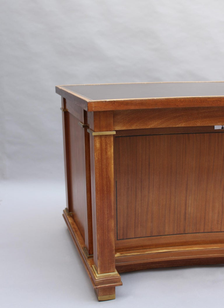 Fine French 1950s Mahogany Curved Desk by Jacques Adnet '2 Available' For Sale 5