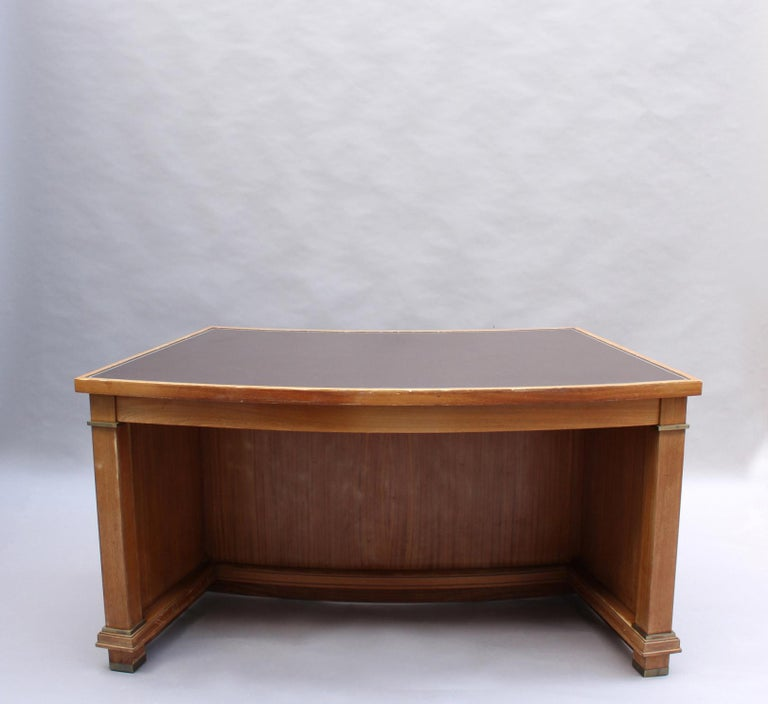 Fine French 1950s Mahogany Curved Desk by Jacques Adnet '2 Available' For Sale 7