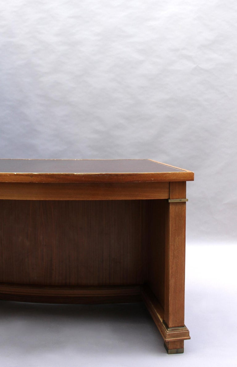Fine French 1950s Mahogany Curved Desk by Jacques Adnet '2 Available' For Sale 8