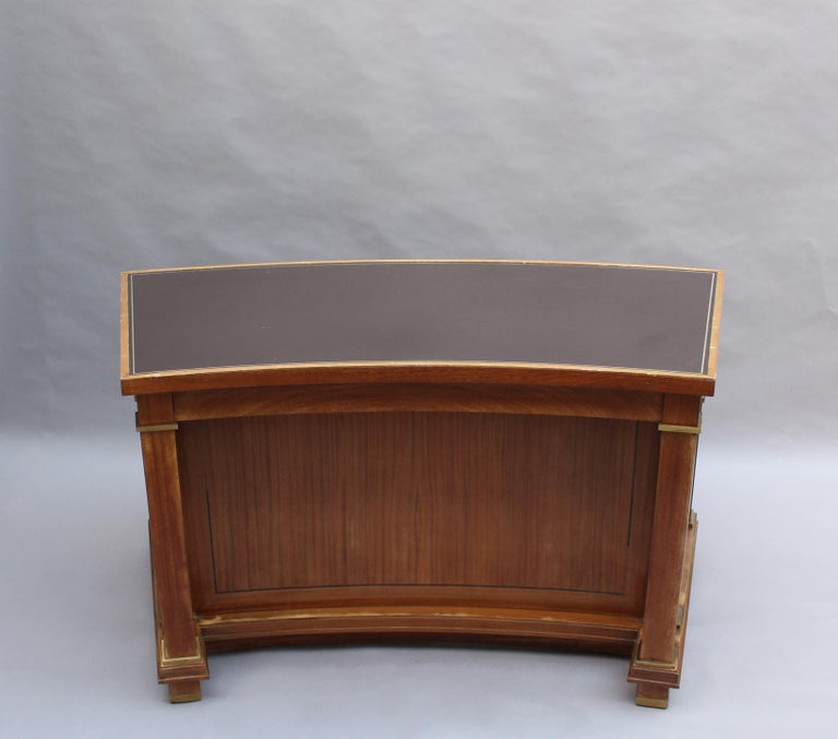 Mid-Century Modern Fine French 1950s Mahogany Curved Desk by Jacques Adnet '2 Available' For Sale