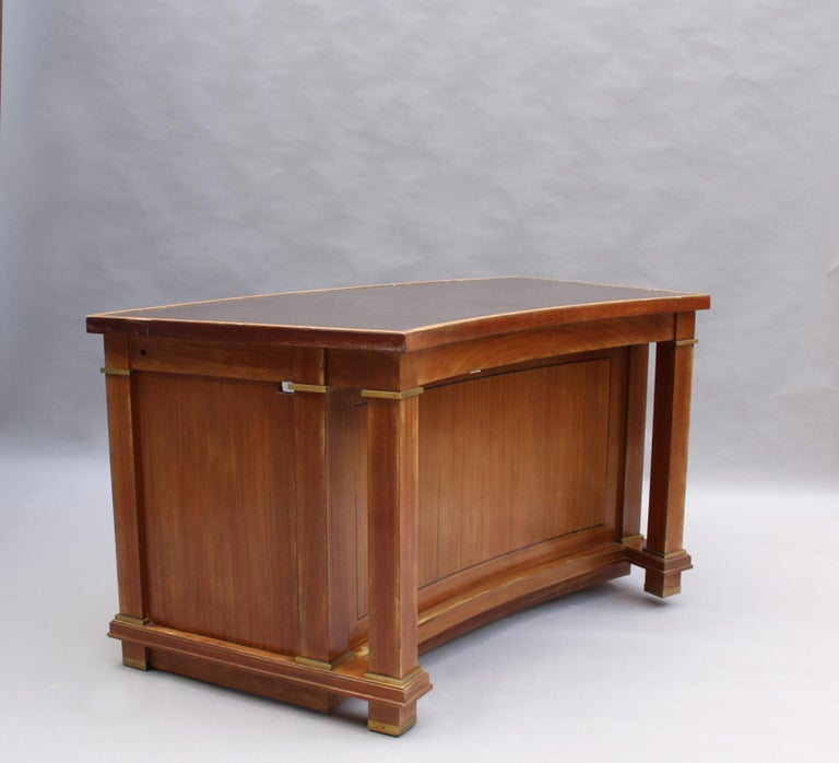 Fine French 1950s Mahogany Curved Desk by Jacques Adnet '2 Available' In Good Condition For Sale In Long Island City, NY