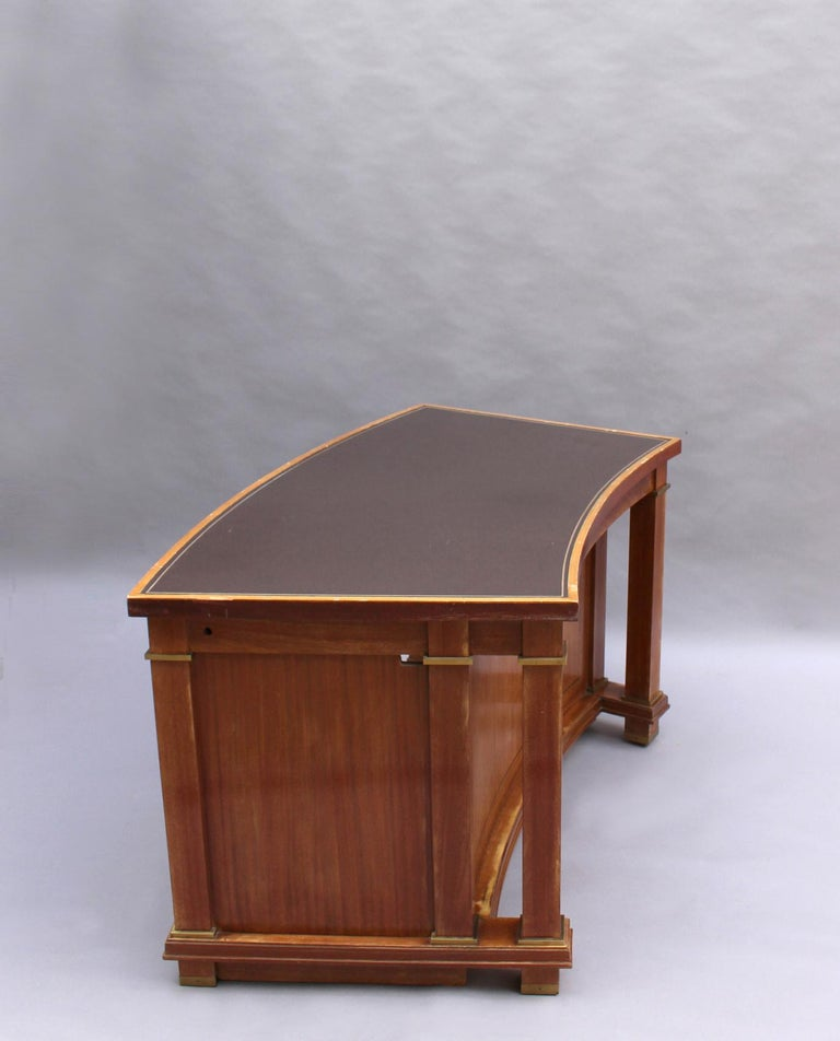 Bronze Fine French 1950s Mahogany Curved Desk by Jacques Adnet '2 Available' For Sale