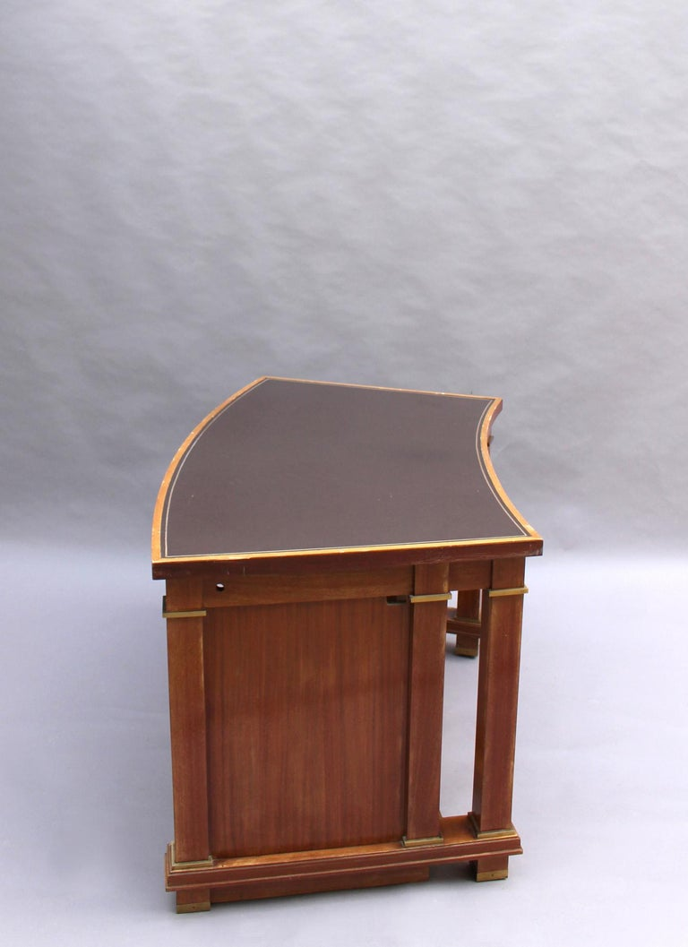 Fine French 1950s Mahogany Curved Desk by Jacques Adnet '2 Available' For Sale 1