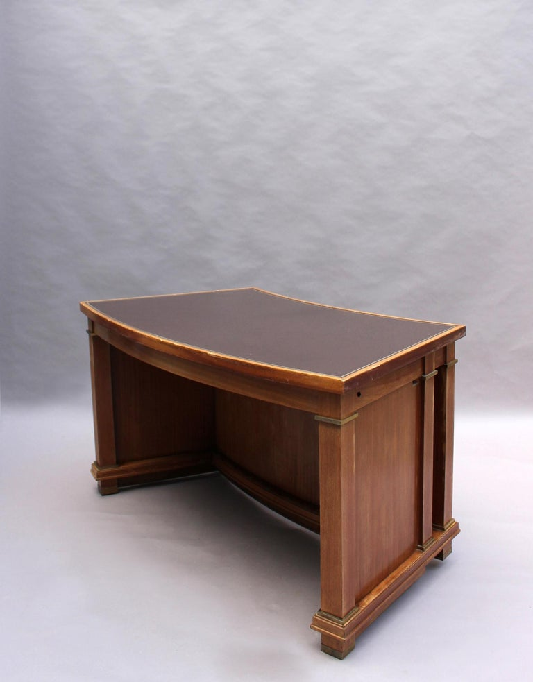 Fine French 1950s Mahogany Curved Desk by Jacques Adnet '2 Available' For Sale 2