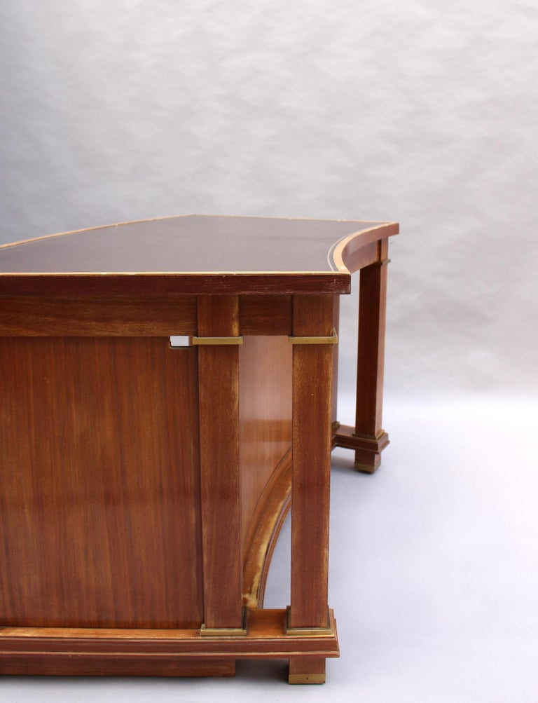 Fine French 1950s Mahogany Curved Desk by Jacques Adnet '2 Available' For Sale 3