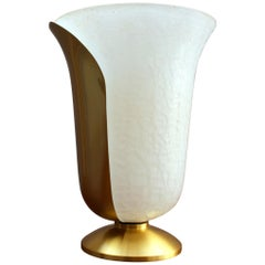 "Fine French 1950s Satin Brass and White ""Craquelé"" Glass by Jean Perzel"