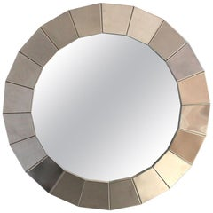 Fine French 1970s Round Faceted Polished Stainless Steel Framed Mirror