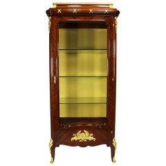 Fine French 19th-20th Century Louis XV Style Ormolu-Mounted Tulipwood Vitrine