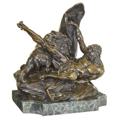 "Fine French 19th Century Bronze Figure of ""Milo of Croton & Lion"" After Falconet"