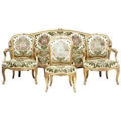 Fine French 19th Century Five-Piece Gilt Salon Living Room Suite