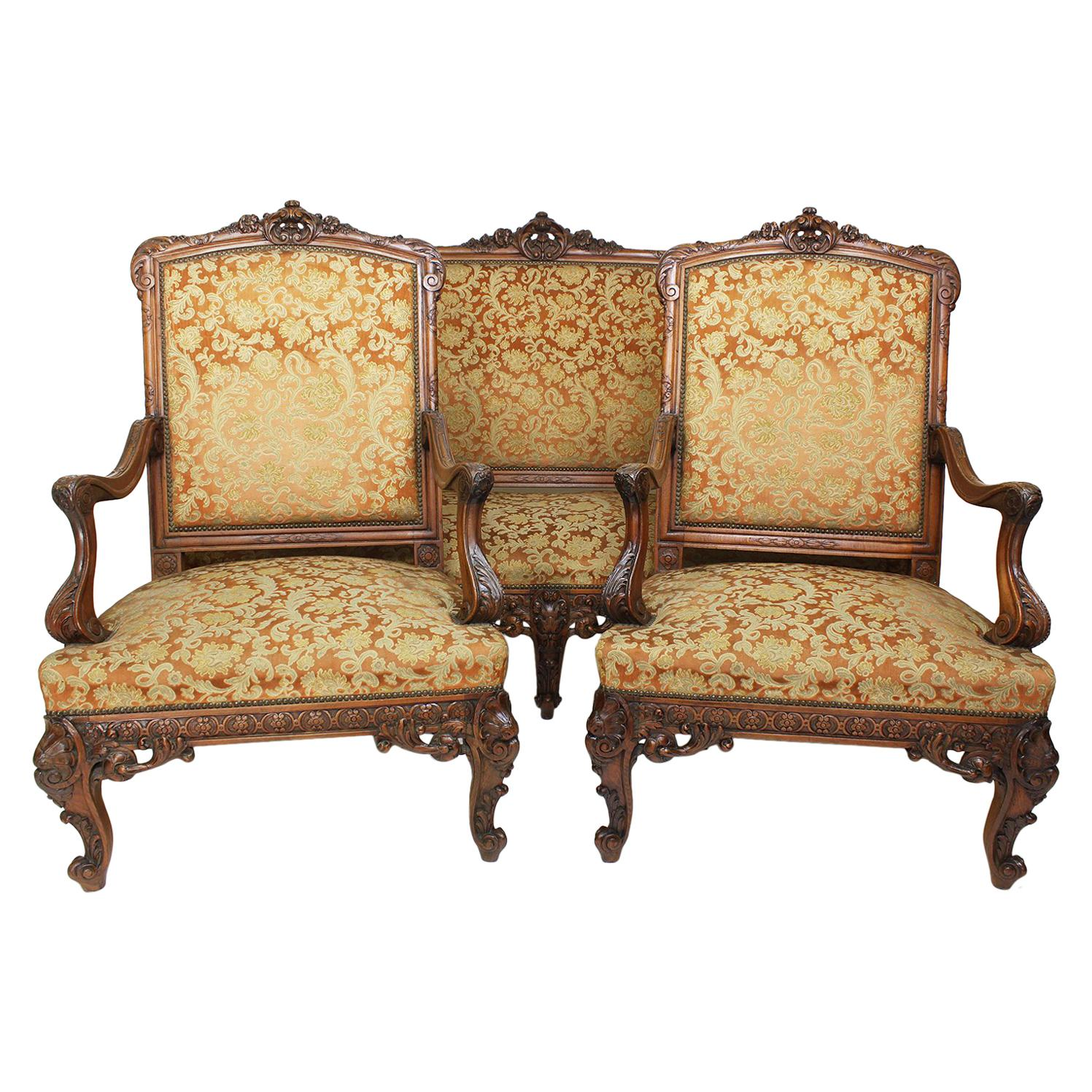Fine French 19th Century Louis XV Style Carved Walnut Three-Piece Salon Suite
