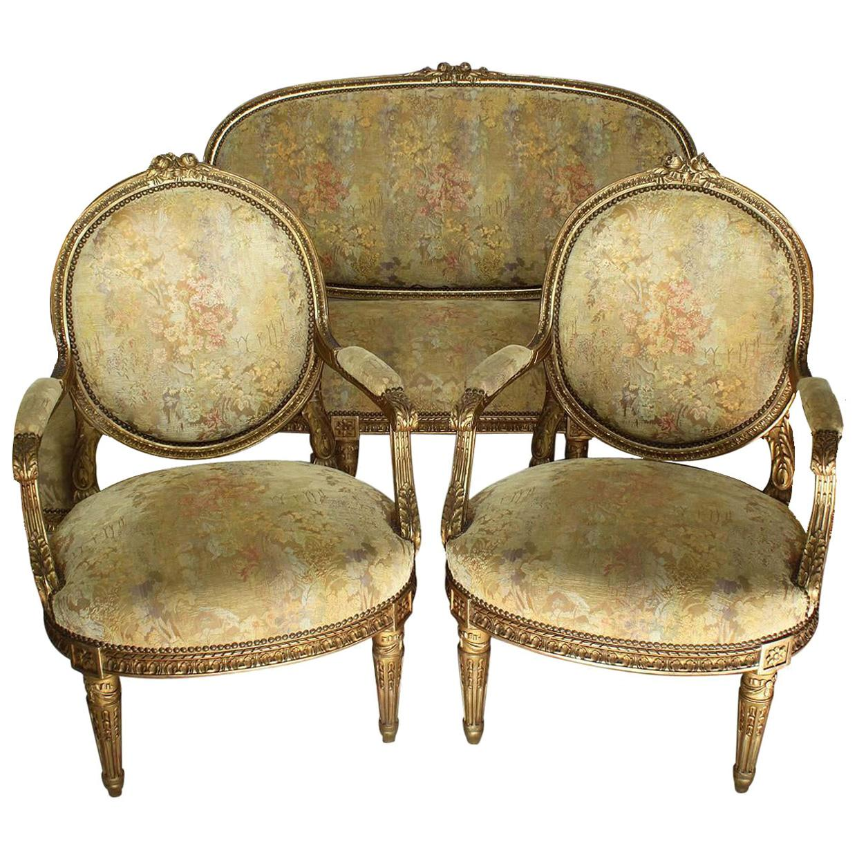 Fine French 19th Century Louis XVI Style Giltwood Carved Three-Piece Salon Suite
