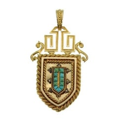 Fine French Antique 18 Karat Yellow Gold and Turquoise Locket Pendant