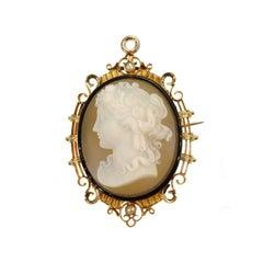 Fine French Antique Cameo Black Enamel Pearl 18 Karat Rose Gold Brooch Pendant