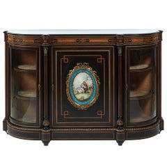 Fine French Antique Ebonised and Amboyna Credenza with Large Sevres Style Plaque