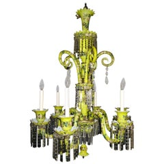 Fine French Antique Louis XVI Style Yellow Opaline Glass Chandelier