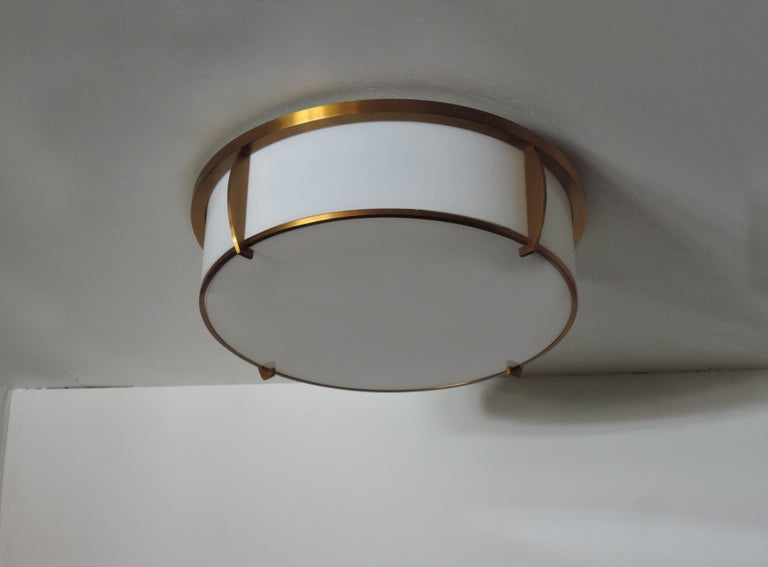 Fine French Art Deco Bronze and Enameled Glass Flush Mount by Jean Perzel For Sale 7