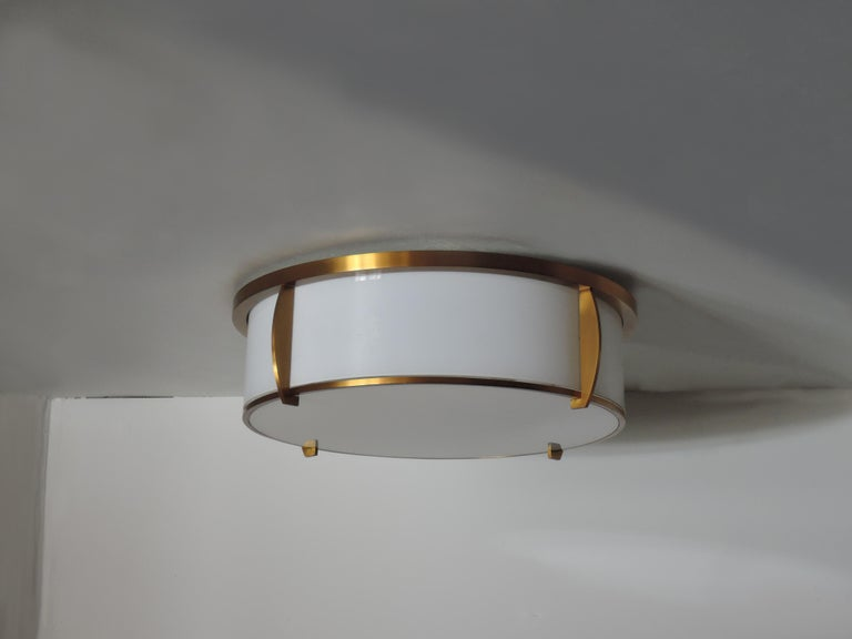 Fine French Art Deco Bronze and Enameled Glass Flush Mount by Jean Perzel In Good Condition For Sale In Long Island City, NY