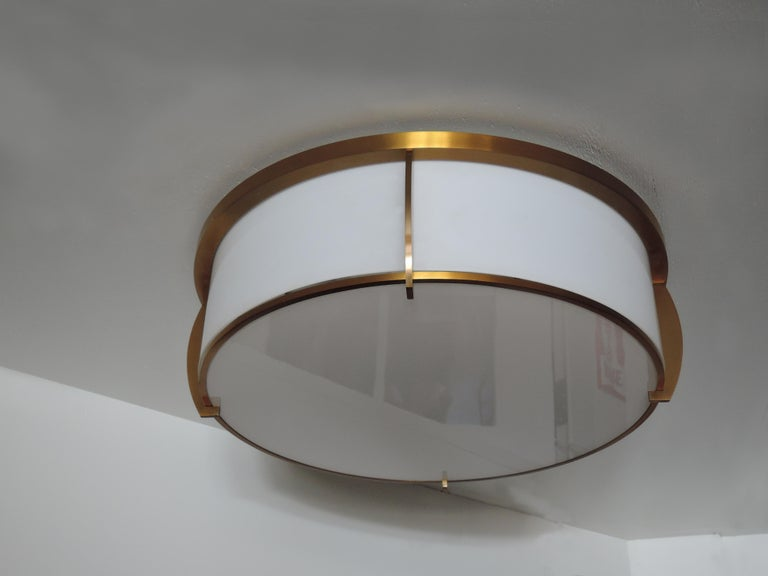 Fine French Art Deco Bronze and Enameled Glass Flush Mount by Jean Perzel For Sale 2