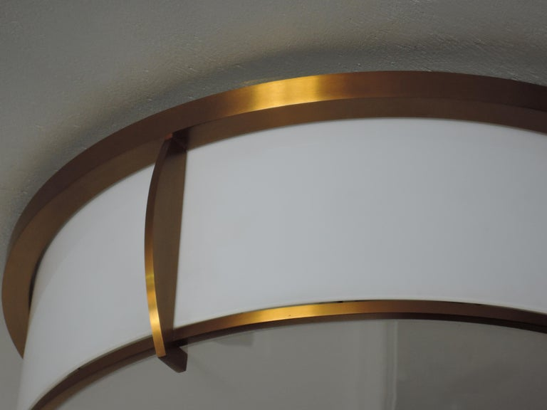 Fine French Art Deco Bronze and Enameled Glass Flush Mount by Jean Perzel For Sale 5