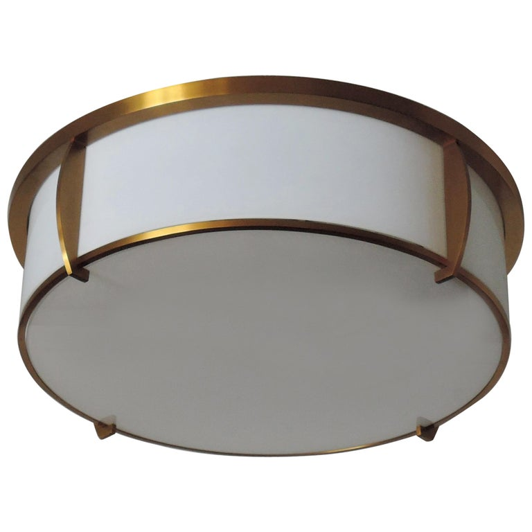 Fine French Art Deco Bronze and Enameled Glass Flush Mount by Jean Perzel For Sale