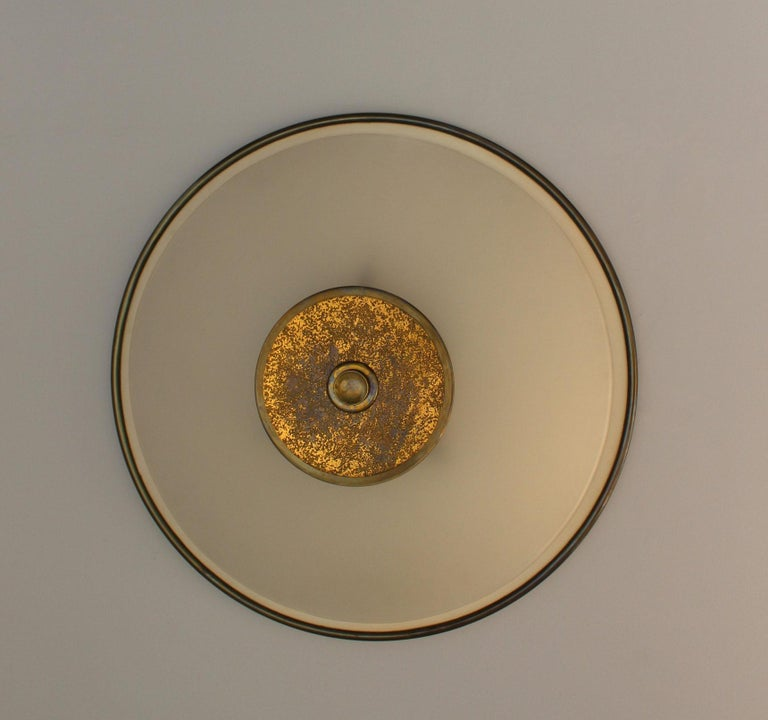 Mid-20th Century Fine French Art Deco Flush Mount by Genet Michon For Sale