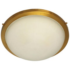 Fine French Art Deco Round Glass and Brass Flush Mount by Perzel