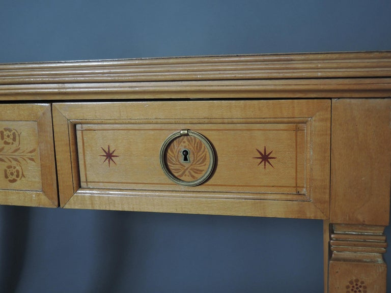 Fine French Art Deco Sycamore Desk by R. Damon & Bertaux For Sale 7