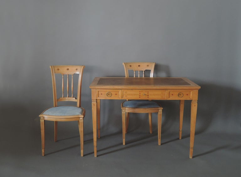 Fine French Art Deco Sycamore Desk by R. Damon & Bertaux For Sale 8