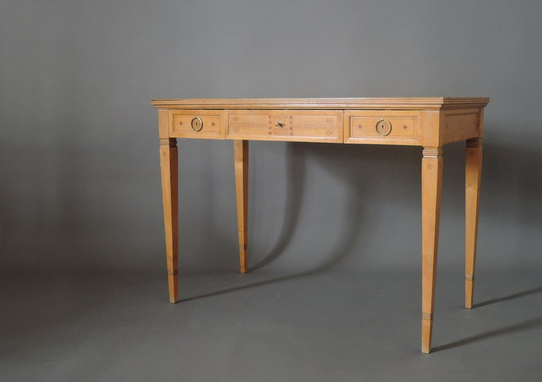 Early 20th Century Fine French Art Deco Sycamore Desk by R. Damon & Bertaux