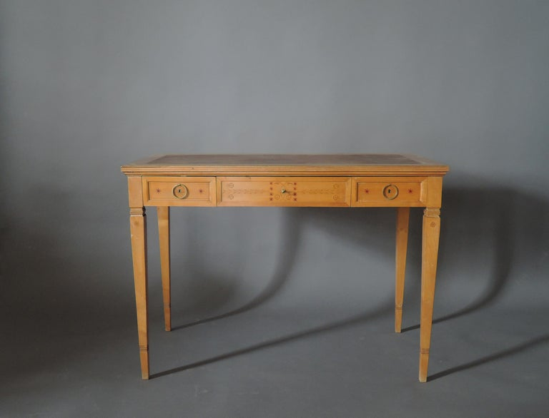 Bronze Fine French Art Deco Sycamore Desk by R. Damon & Bertaux For Sale