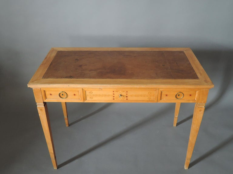 Fine French Art Deco Sycamore Desk by R. Damon & Bertaux For Sale 1