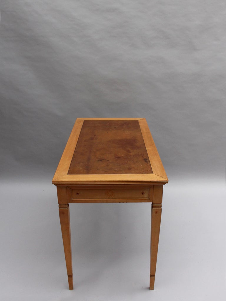 Fine French Art Deco Sycamore Desk by R. Damon & Bertaux For Sale 2