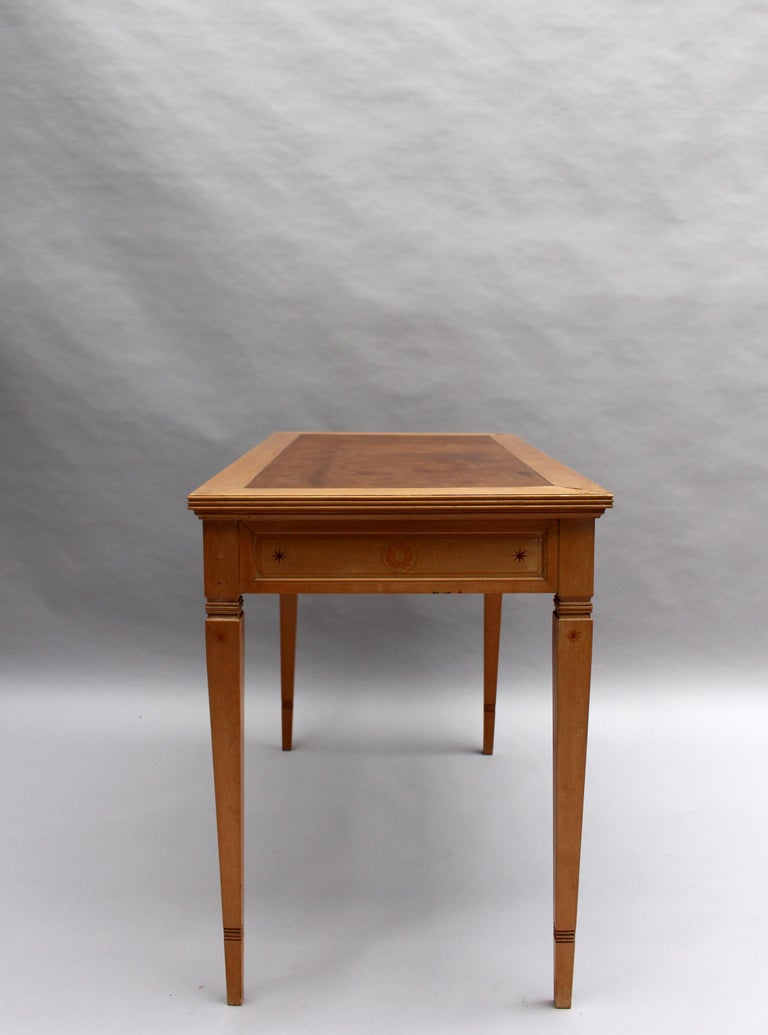 Fine French Art Deco Sycamore Desk by R. Damon & Bertaux For Sale 3