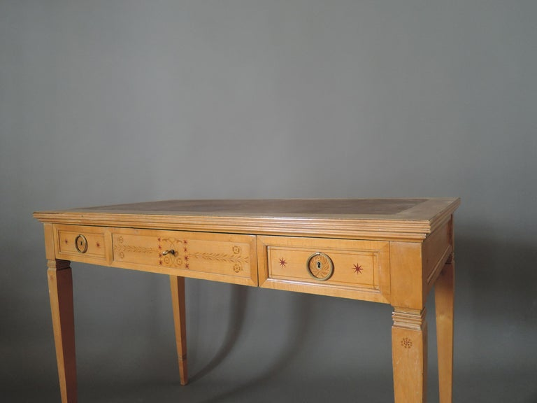 Fine French Art Deco Sycamore Desk by R. Damon & Bertaux For Sale 4