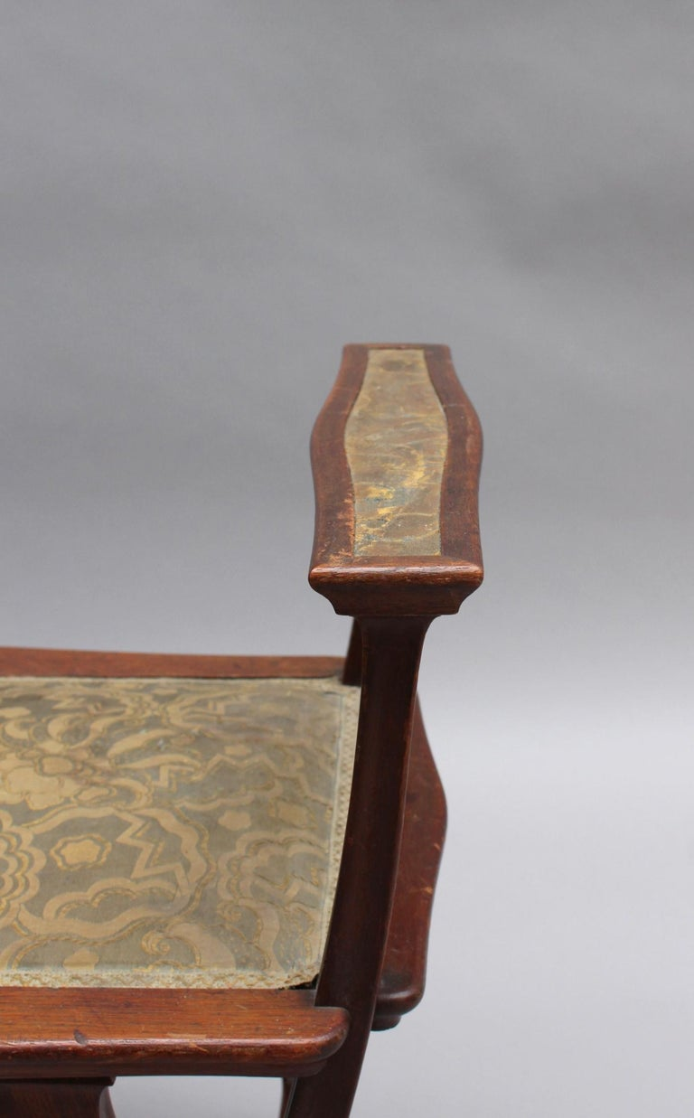 Fine French Art Nouveau Upholstered Mahogany Bench For Sale 6