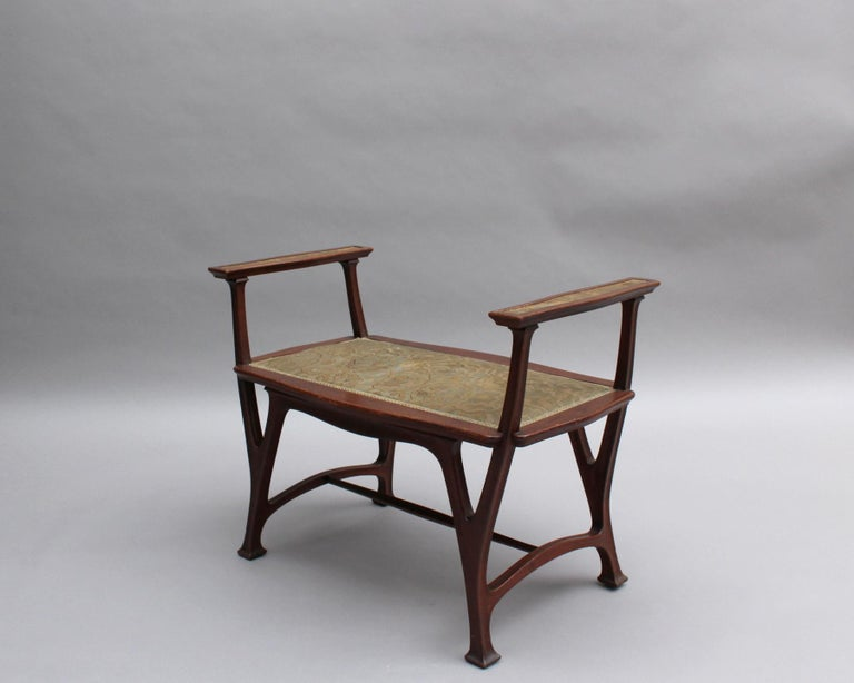 Fine French Art Nouveau Upholstered Mahogany Bench In Good Condition For Sale In Long Island City, NY