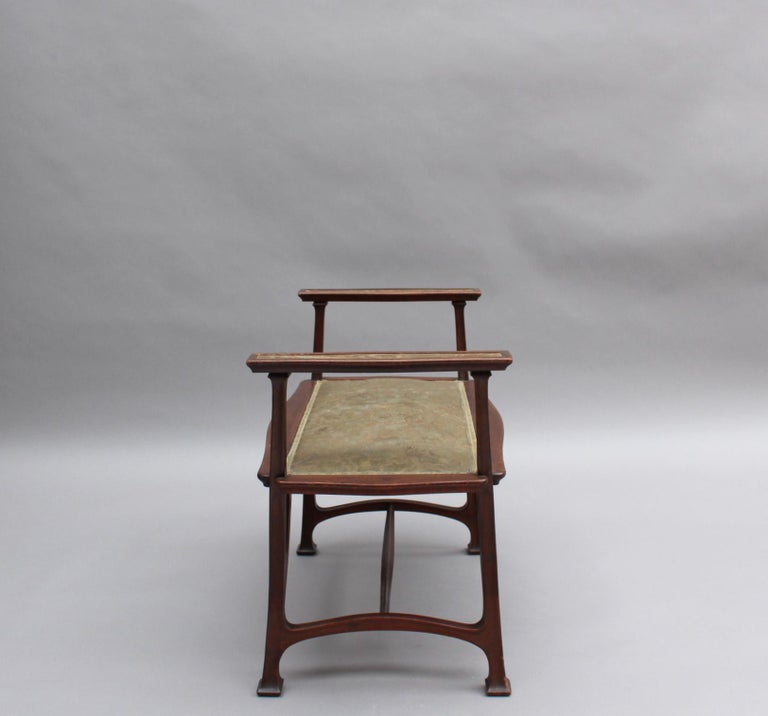 20th Century Fine French Art Nouveau Upholstered Mahogany Bench For Sale
