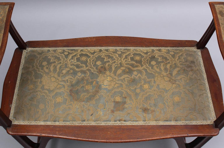 Fine French Art Nouveau Upholstered Mahogany Bench For Sale 3