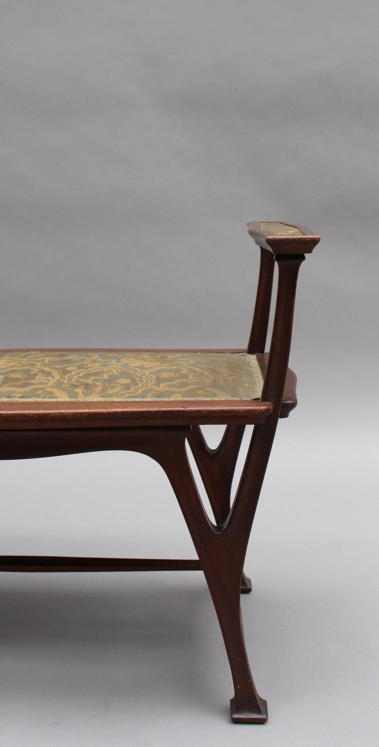 Fine French Art Nouveau Upholstered Mahogany Bench For Sale 5