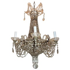 Fine French Beaded Crystal Basket Lattice Cascading Swag Chandelier Fixture