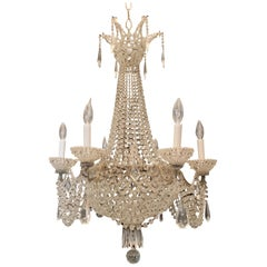 Fine French Beaded Crystal Basket Lattice Cascading Swag Large Chandelier