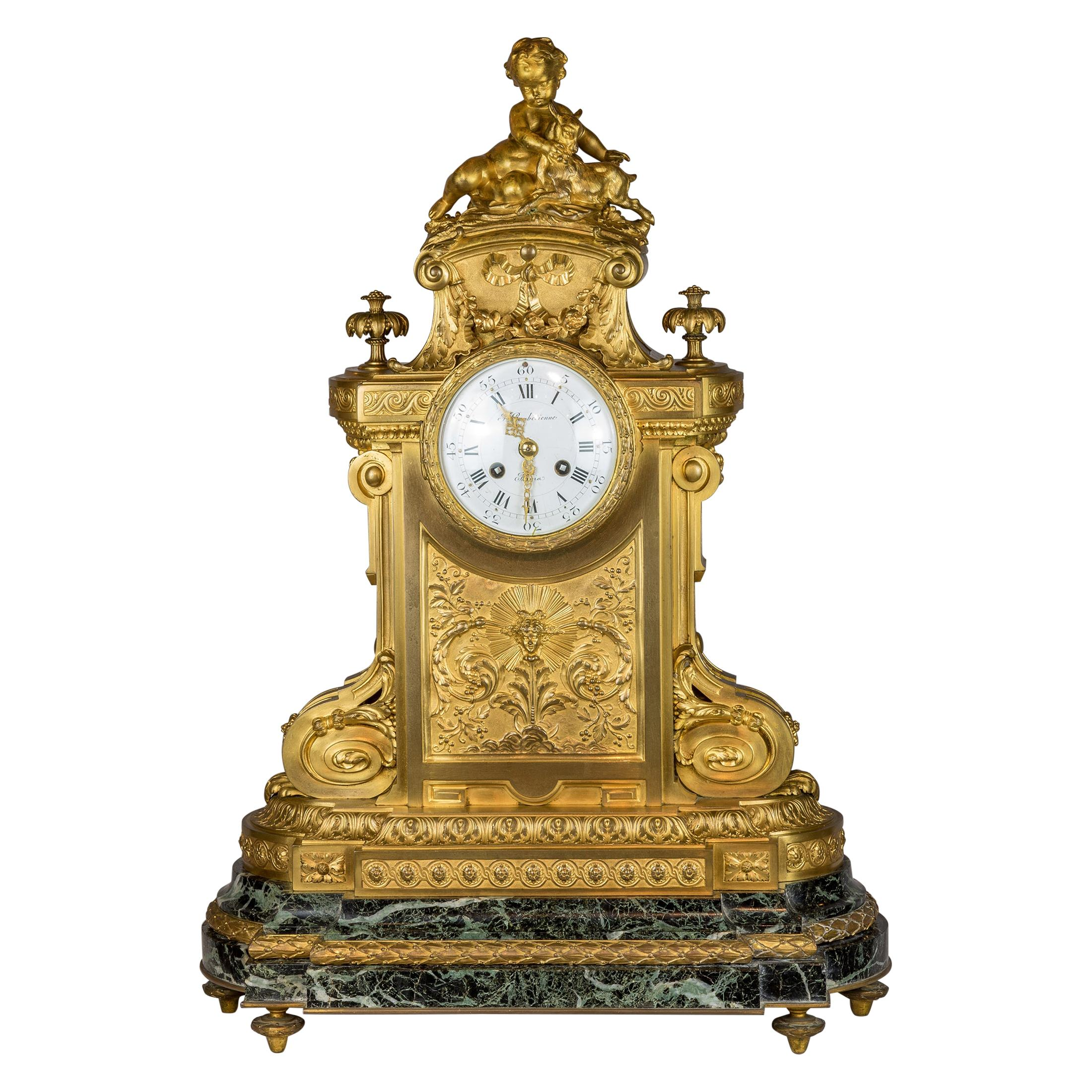 Fine French Bronze Mounted Green Marble and Mantle Clock F. Barbedienne