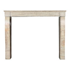 Fine French Country Limestone Vintage Fireplace Surround