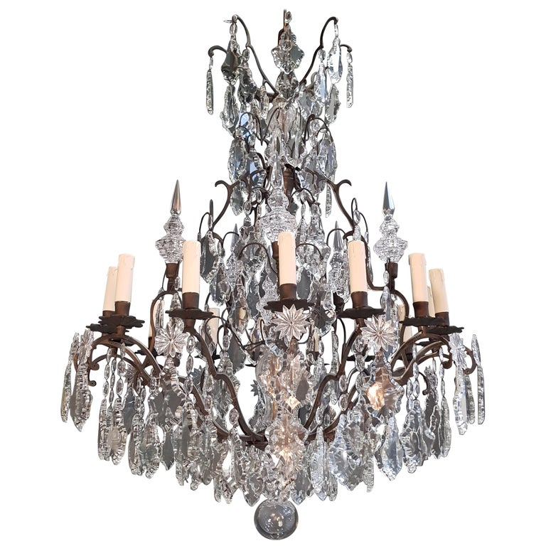Fine French Crystal Chandelier Ceiling Lamp Lustre  1