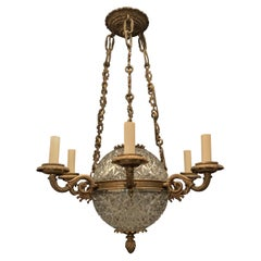 Fine French Empire Bronze Crystal Ball 8-Light Neoclassical Fixture Chandelier