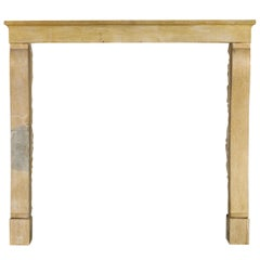 Fine French Honey Bicolor Limestone Vintage Country Fireplace Surround