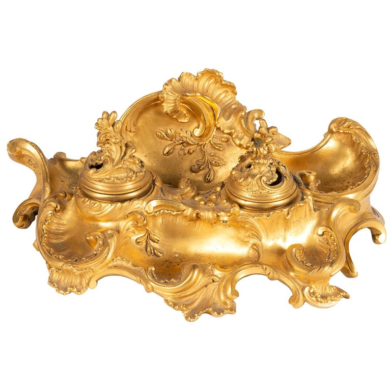 Fine French Late 19th Century Gilded Ormolu Rococo Style Inkwell by Millet For Sale