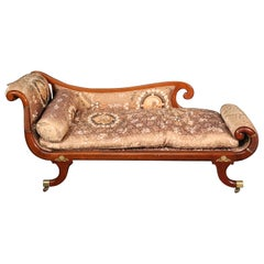 Fine French Louis XV Bronze Mounted Ormolu Recamier Daybed Chaise, circa 1890