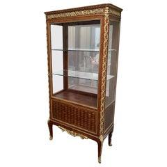 Fine French Louis XV Bronze Ormolu Mounted Vitrine Curio Marquetry Cabinet